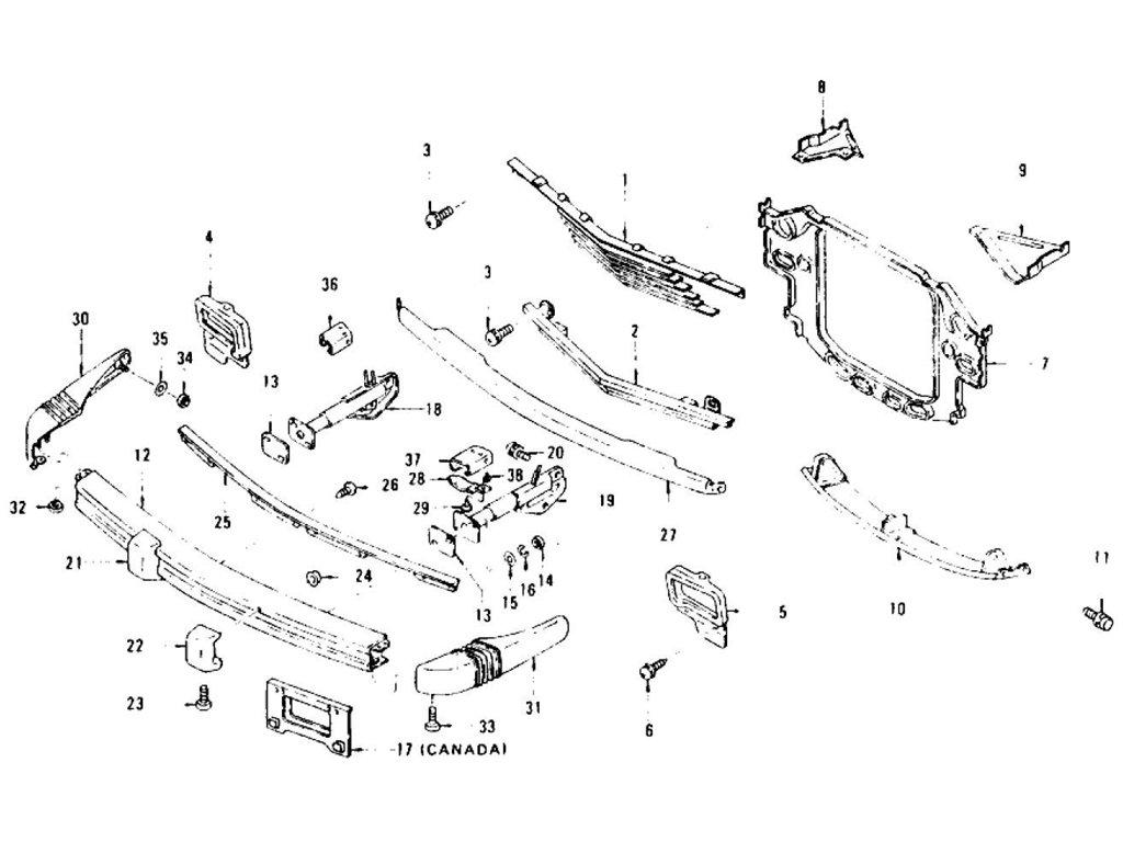 Datsun Z Radiator Grille, Front Bumper & Over Rider (2+2