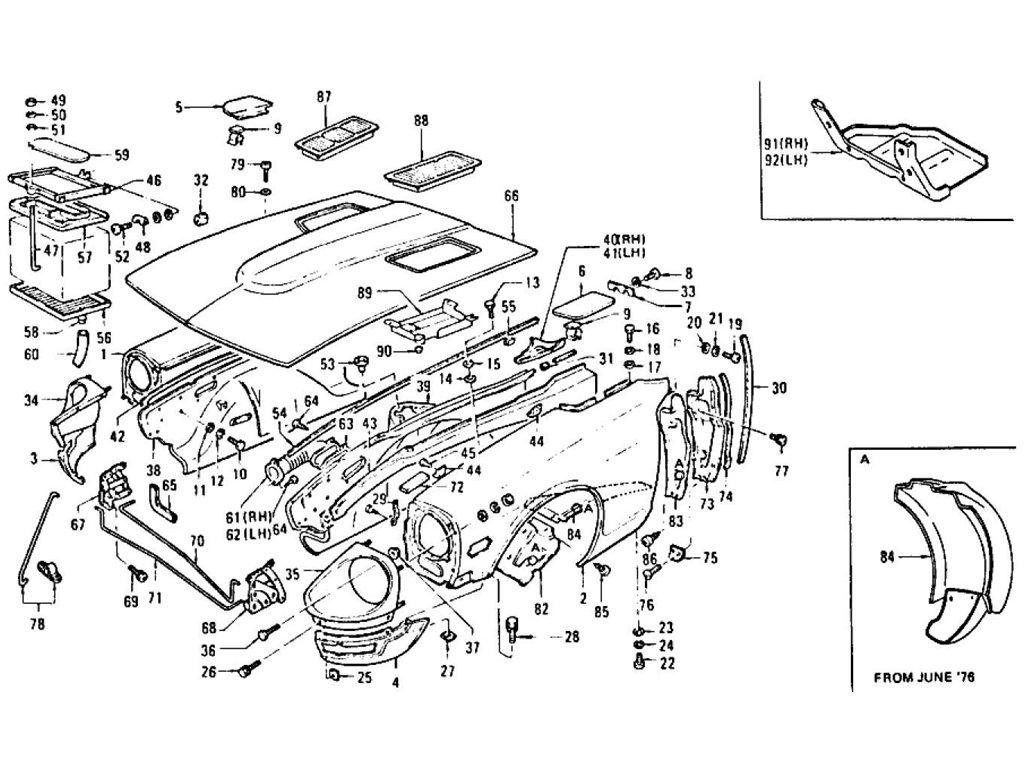 Datsun Z Front Fender, Hood Ledge & Hood (2+2 Seater
