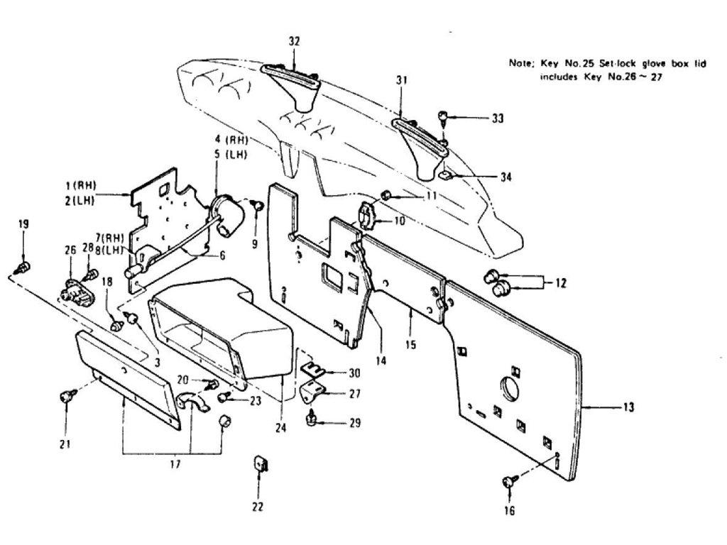 Datsun Z Dash Side Trim, Insulator & Glove Box (2+2 Seater