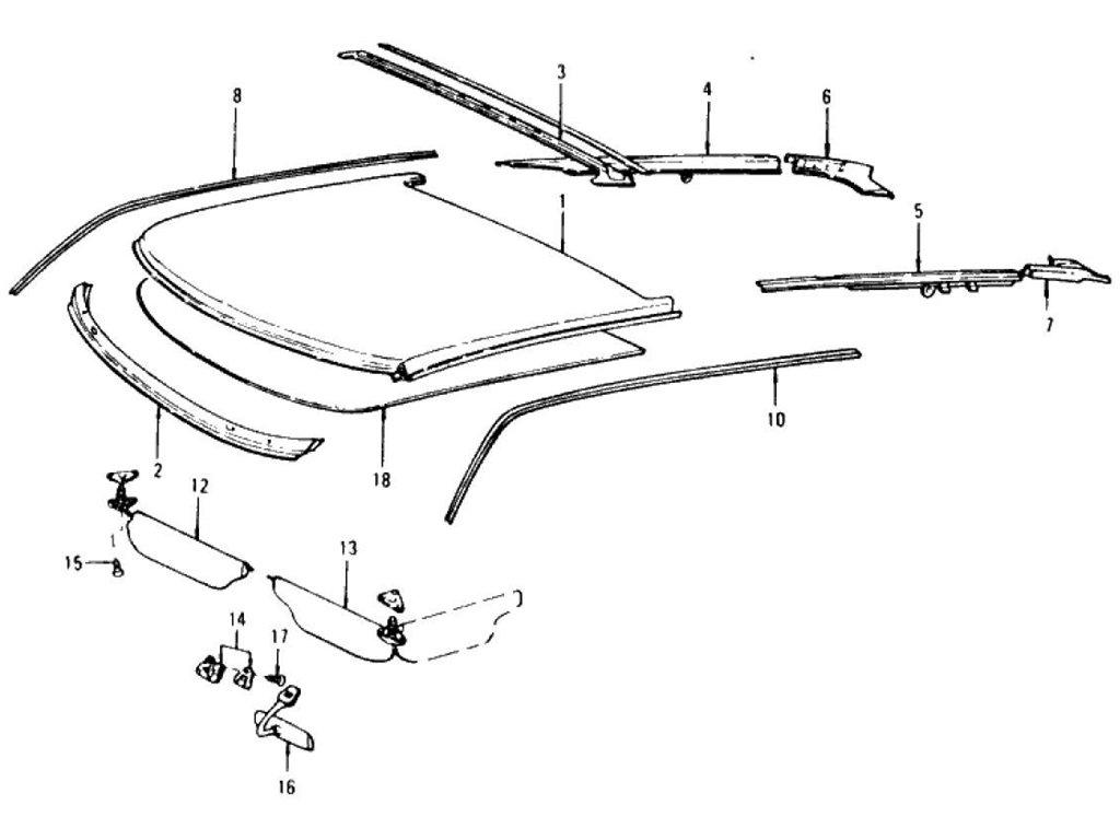 Datsun Z Roof Panel, Moulding, Sunvisor & Head Lining (2+2