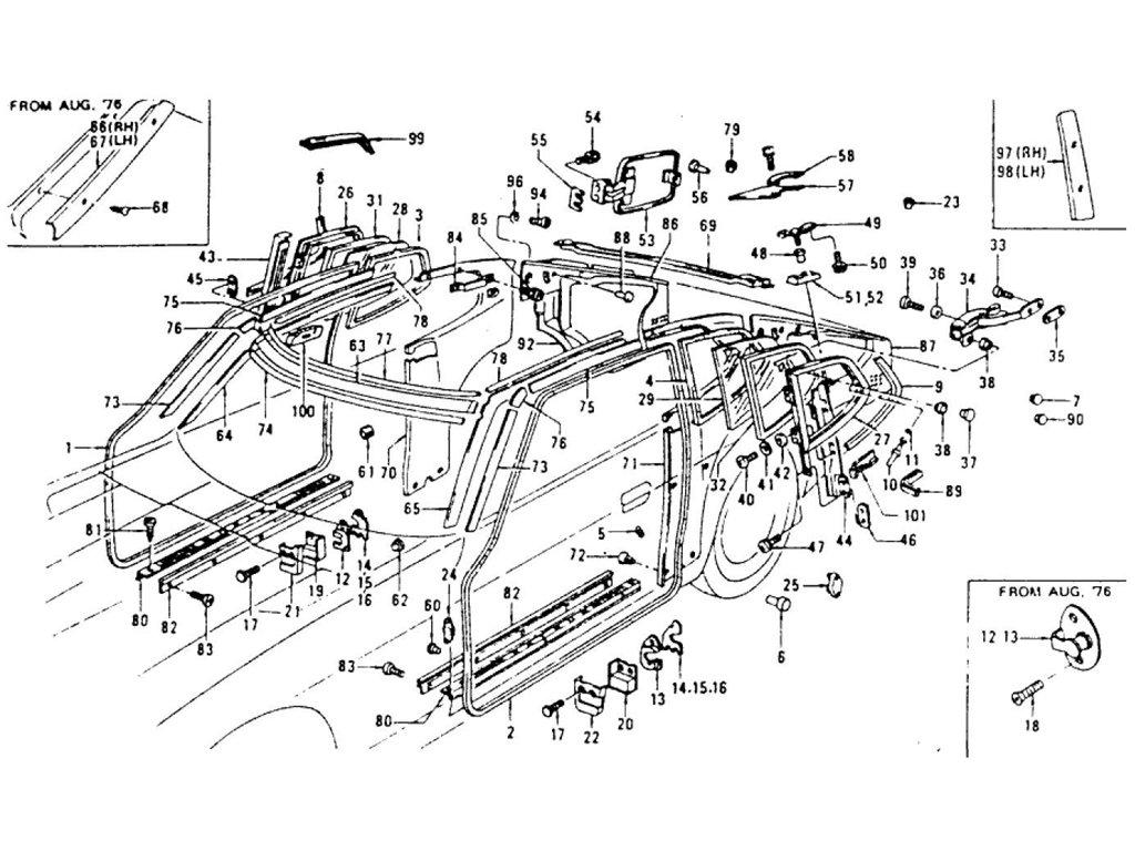 Datsun Z Body Side Trim & Side Window (2+2 Seater) (From