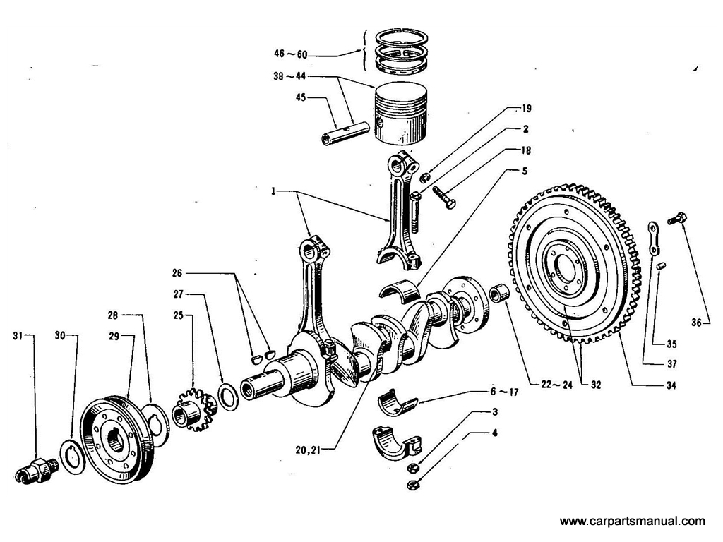 Datsun Bluebird (410) Piston & Crankshaft