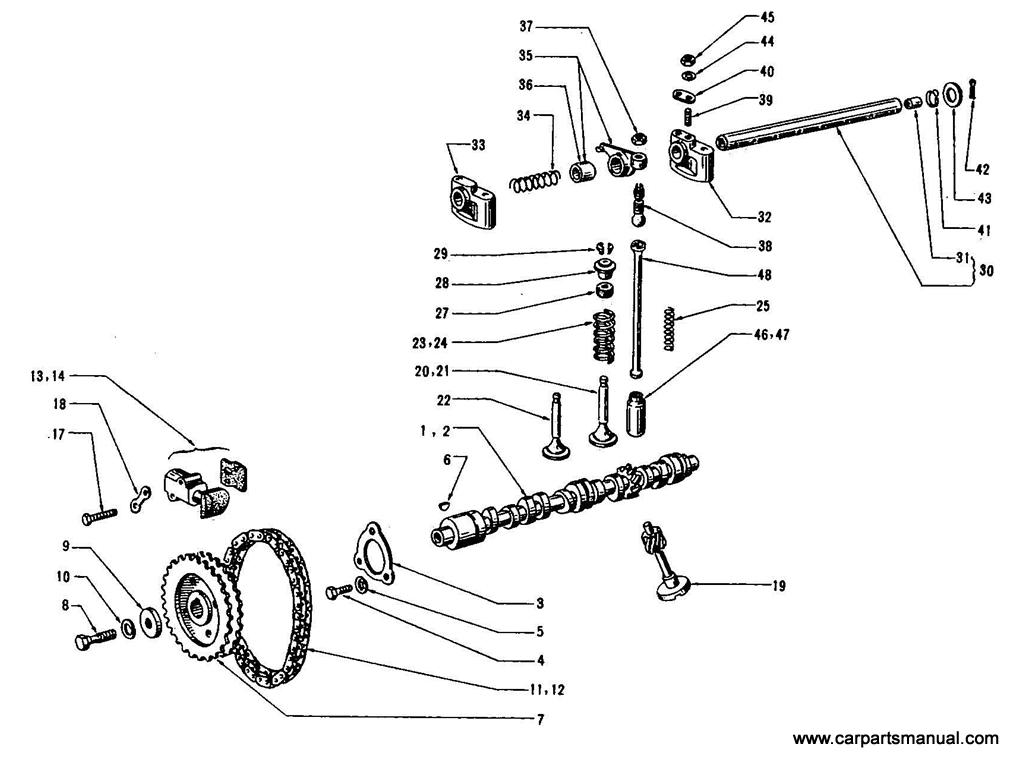 Datsun Bluebird (410) Cam Shaft & Valve Mechanism