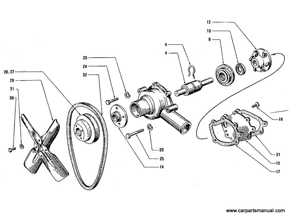 Datsun Bluebird (410) Water Pump & Fan