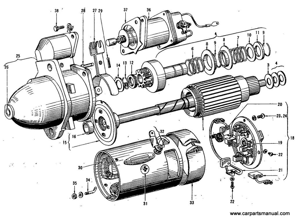 Datsun Bluebird (410) Starter Motor (Hitatch) (To Jan.-'65)