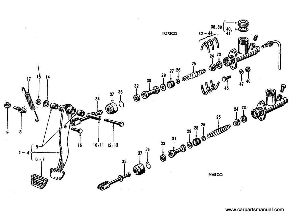 Datsun Bluebird (410) Brake Pedal & Master Cylinder