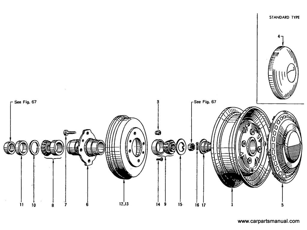 Datsun Bluebird (410) Front Hub & Drum