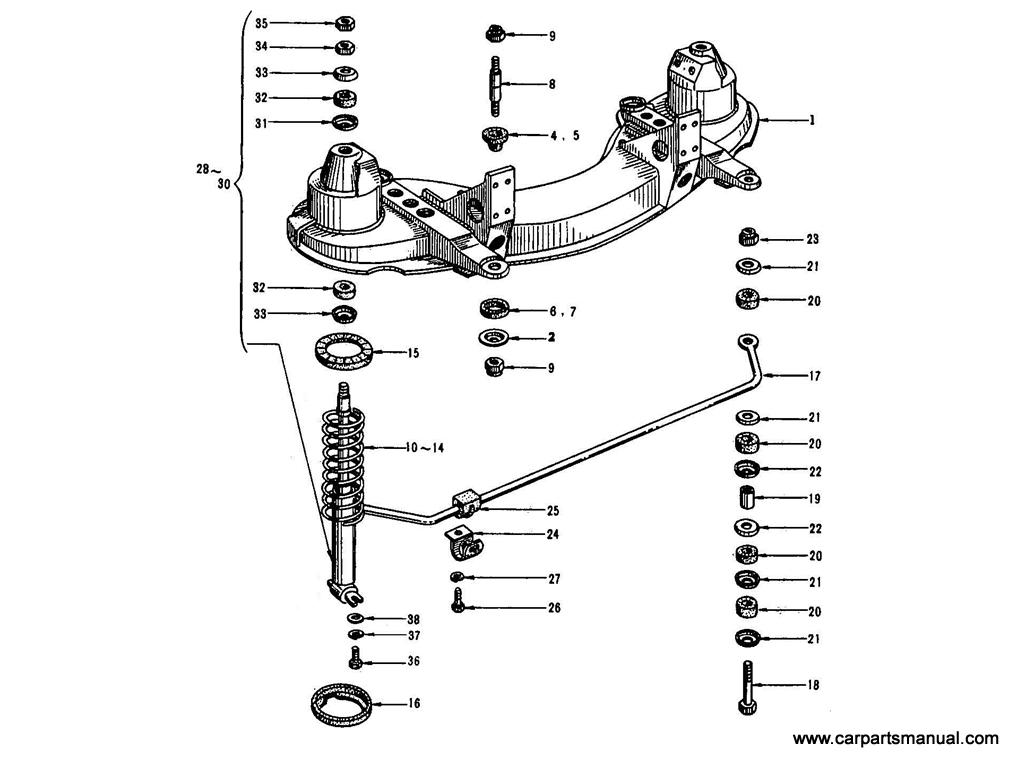 Datsun Bluebird (410) Front Suspension Member & Shock Absorber