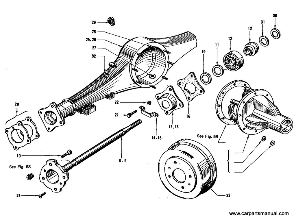 Datsun Bluebird (410) Rear Axle