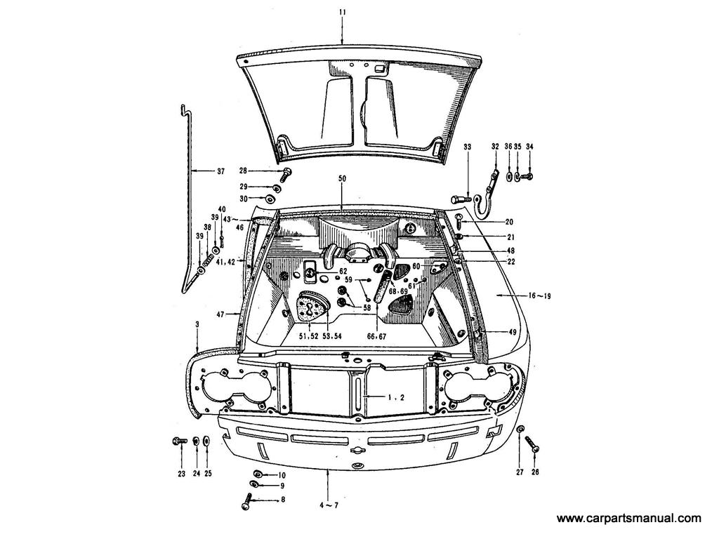 Datsun Bluebird (410) Front Fender & Hood Panel