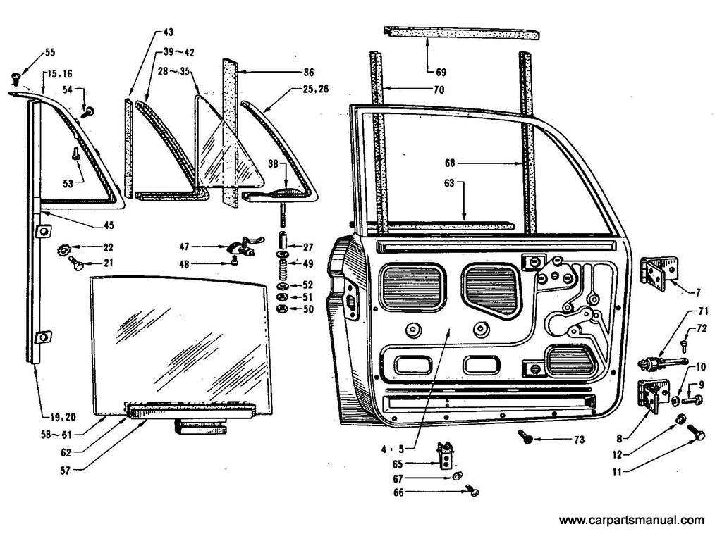 Datsun Bluebird (410) Front Door Panel