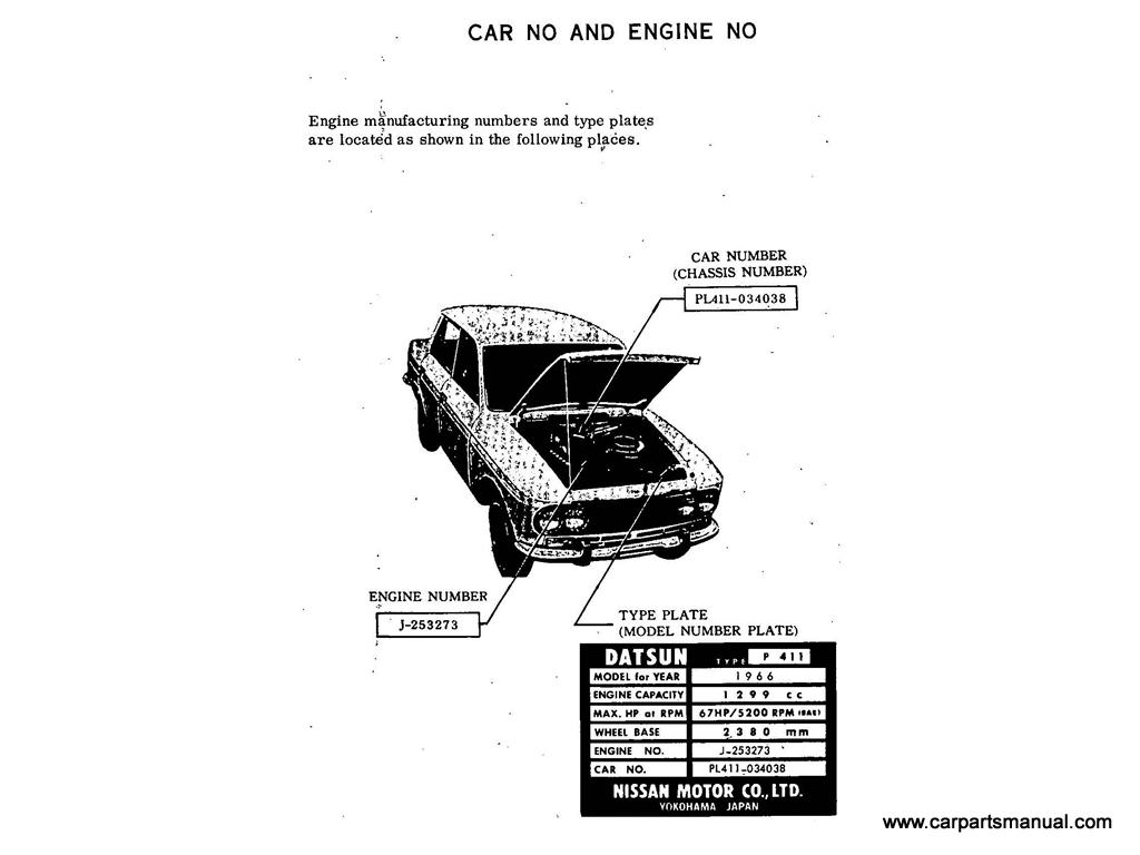 Datsun Bluebird (411) Car and Engine No