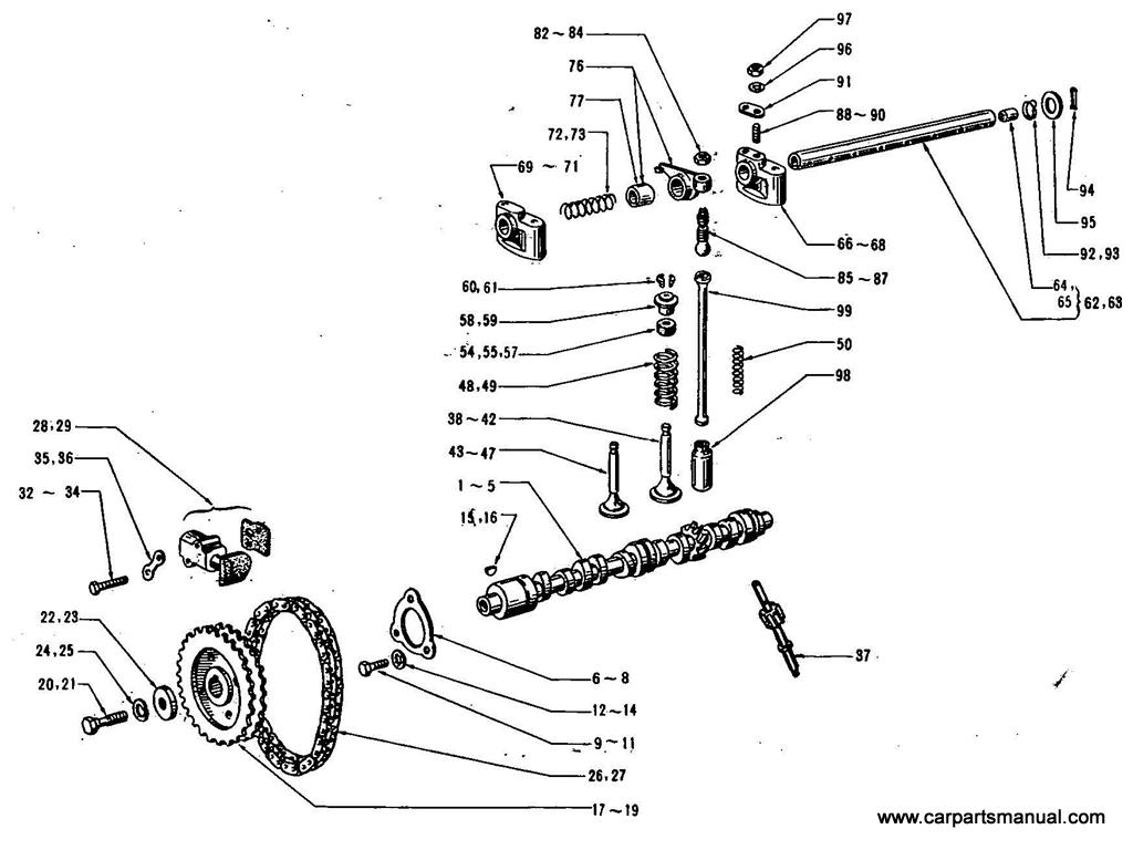 Datsun Bluebird (411) Cam Shaft & Valve Mechanism