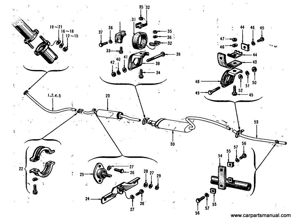 Datsun Bluebird (411) Exhaust Tube & Mounting