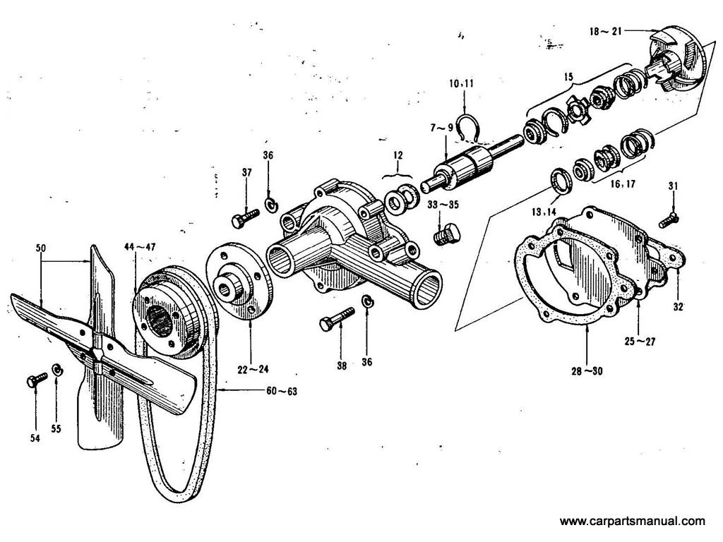 Datsun Bluebird (411) Water Pump & Fan