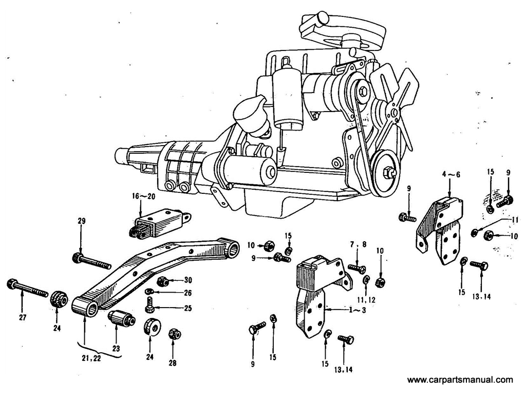 Datsun Bluebird (411) Engine Mounting