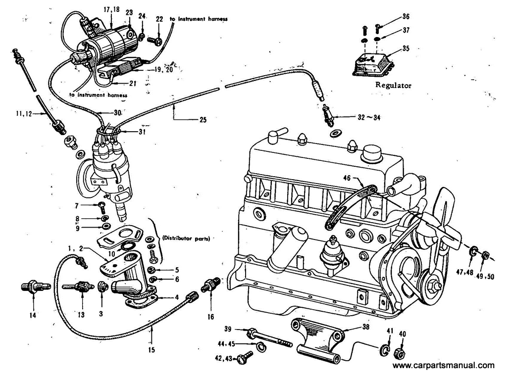 Datsun Bluebird (411) Electrical Parts Mounting (1.6L)