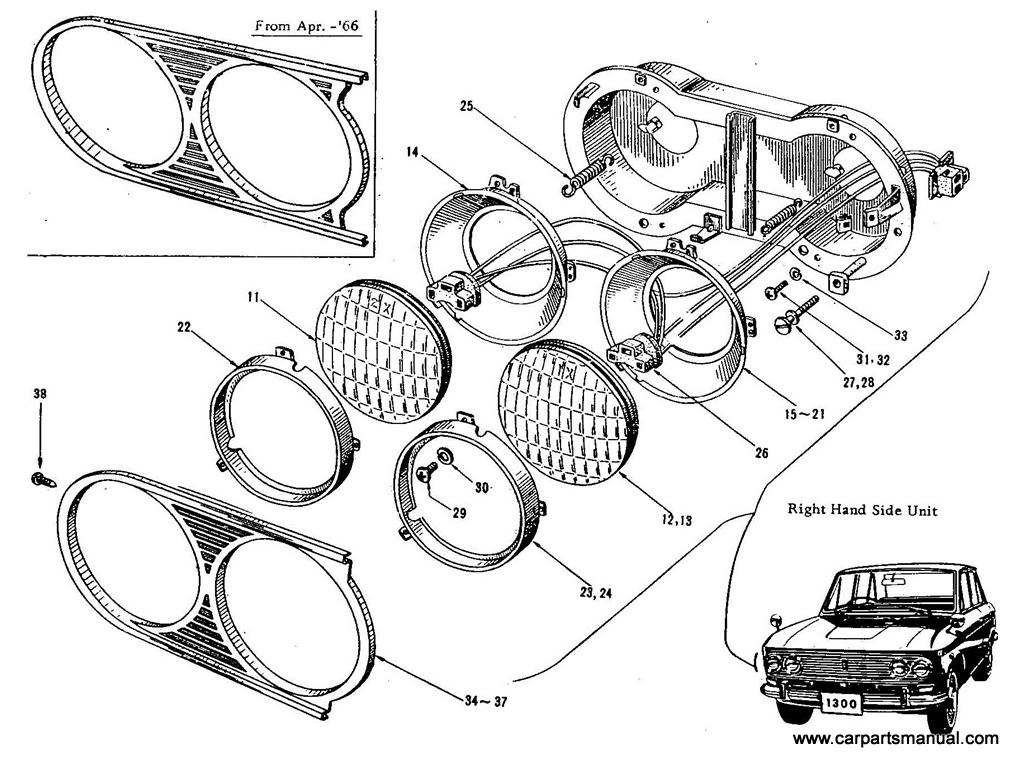Datsun Bluebird (411) Head Lamp