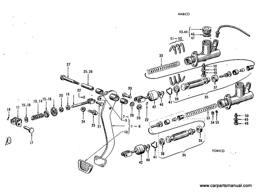 Datsun Bluebird (411) Clutch Pedal & Master Cylinder