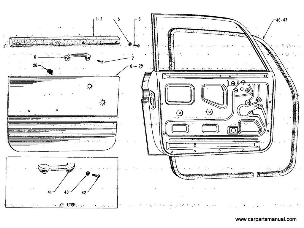 Datsun Bluebird (411) Front Door Trimming