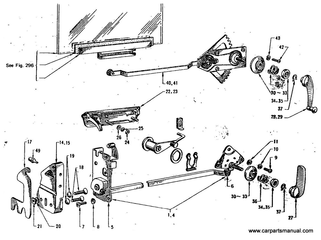 Datsun Bluebird (411) Front Door Lock & Regulator