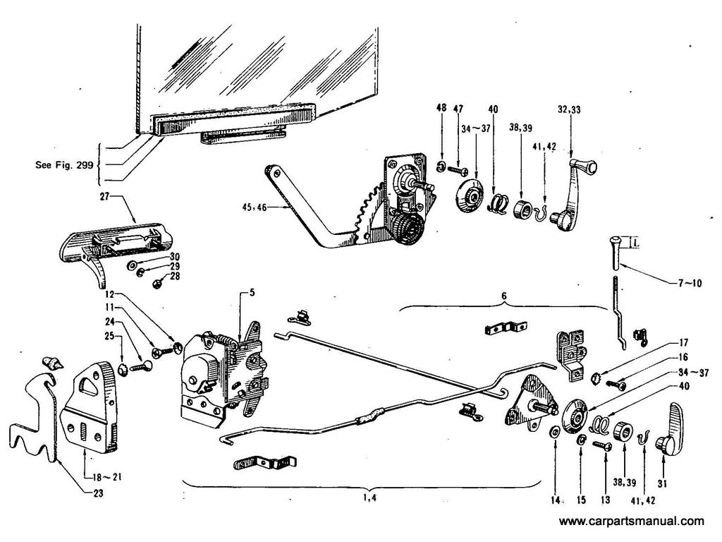Datsun Bluebird (411) Rear Door Lock & Regulator