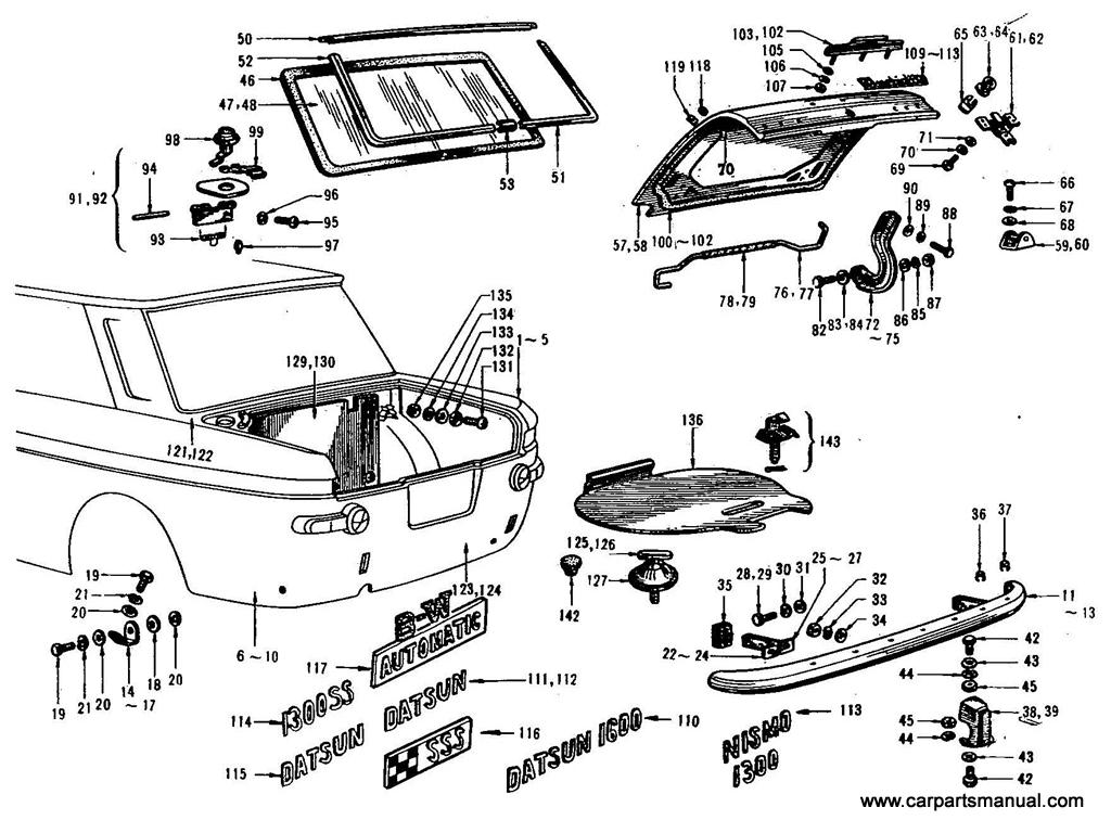 Datsun Bluebird (411) Rear Fender & Rear Panel