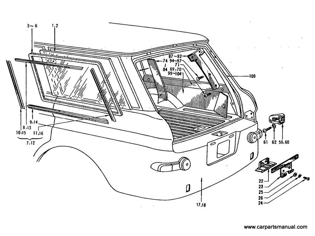 Datsun Bluebird (411) Tail Gate Trimming & Side Window