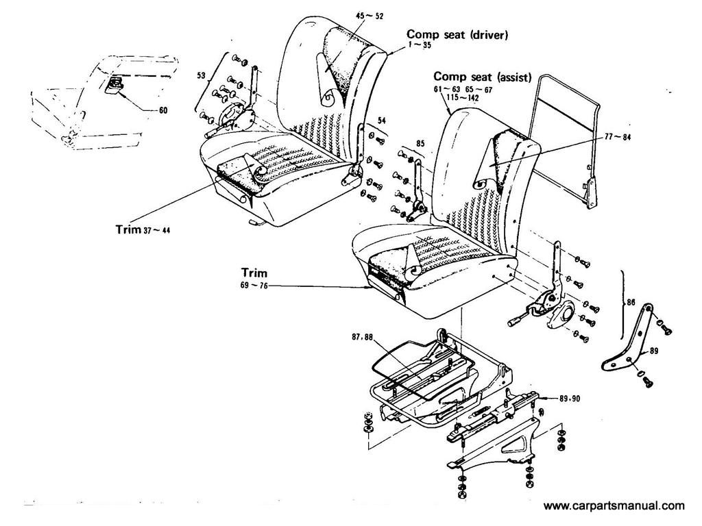 Datsun Bluebird (411) Rear Seat (Sedan)