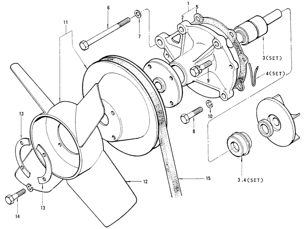 Datsun 510 Water Pump & Fan (21010-21026)