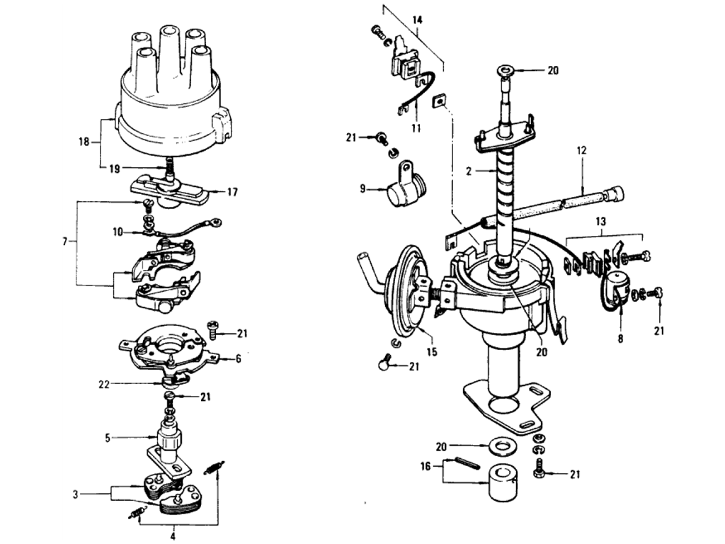 Datsun 510 Distributor (1.6L L16) (From Sep.-'71 To Mar.-'72)
