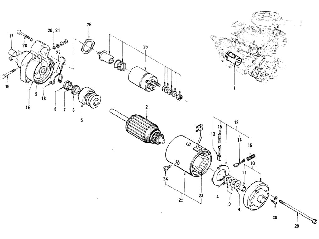 Datsun 510 Starter Motor (From Oct.-'68 To Sep.-'69)