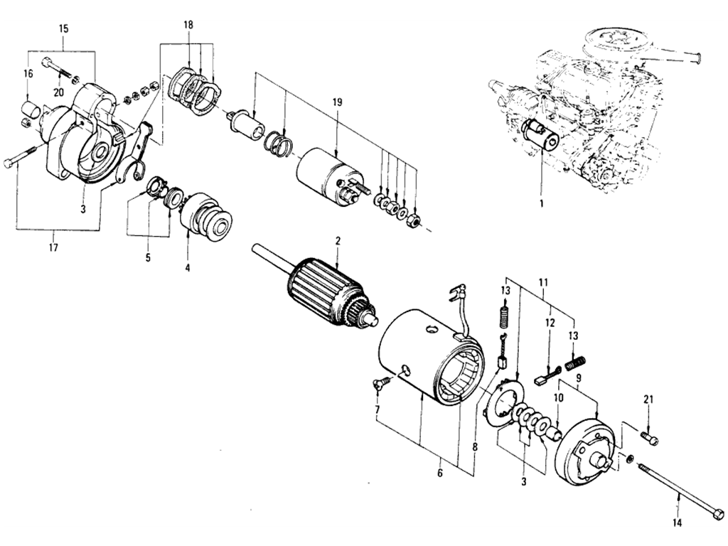Datsun 510 Starter Motor (Hitachi) (Oct.-'69 To Jul.-'70)