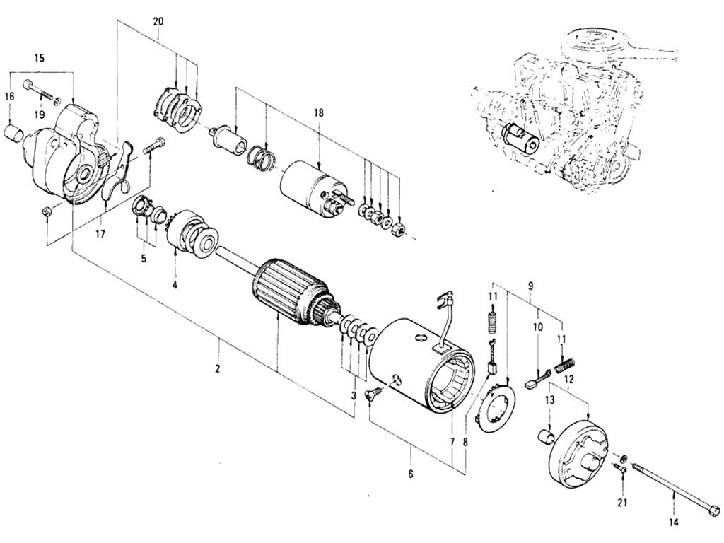 Datsun 510 Starter Motor (Hitachi) (From Nov.-'70 To Jul.-'71)