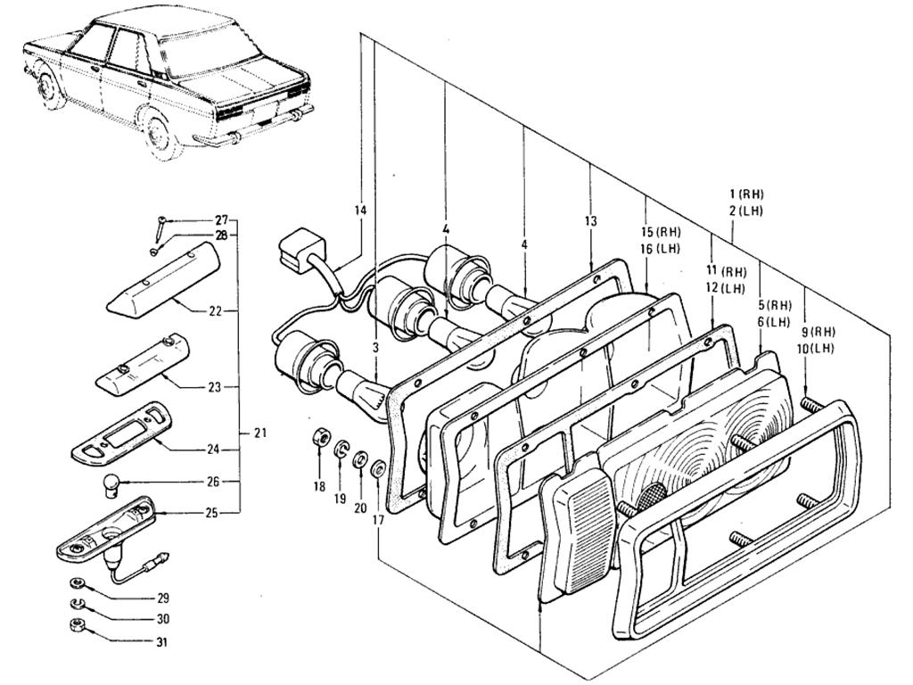 Datsun 510 Rear Combination Lamp Sedan (To Jul.-'68)