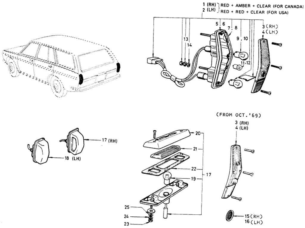 Datsun 510 Rear Combination Lamp Wagon