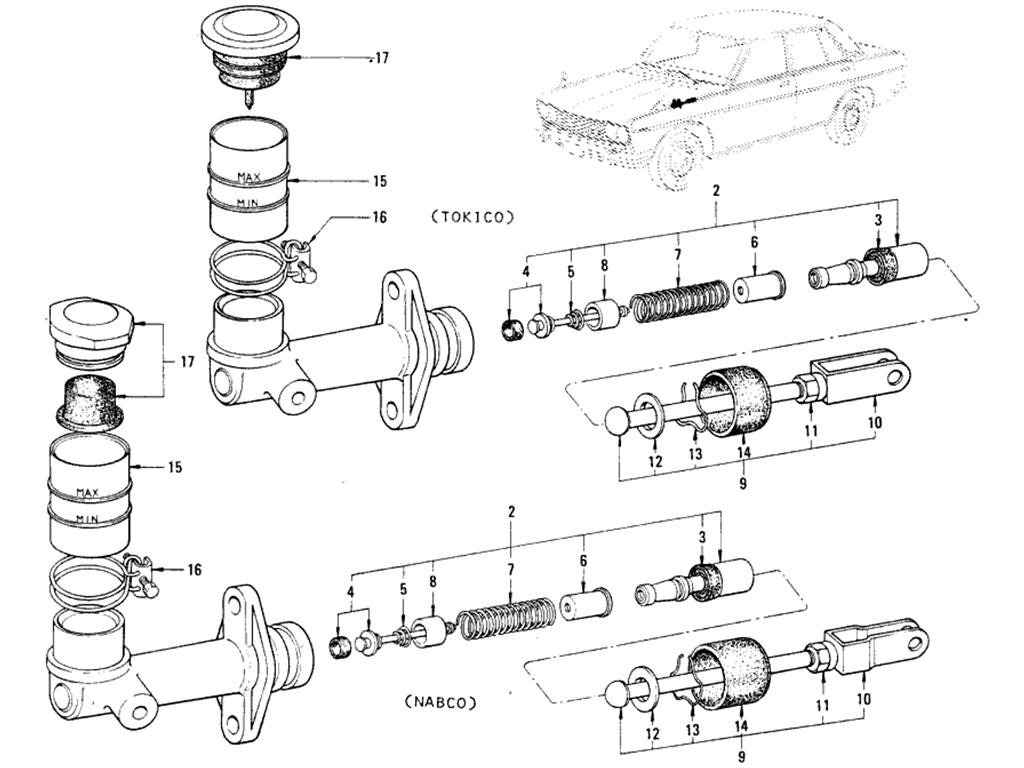 Datsun 510 Clutch Master & Operating Cylinder (From Mar.-'69)