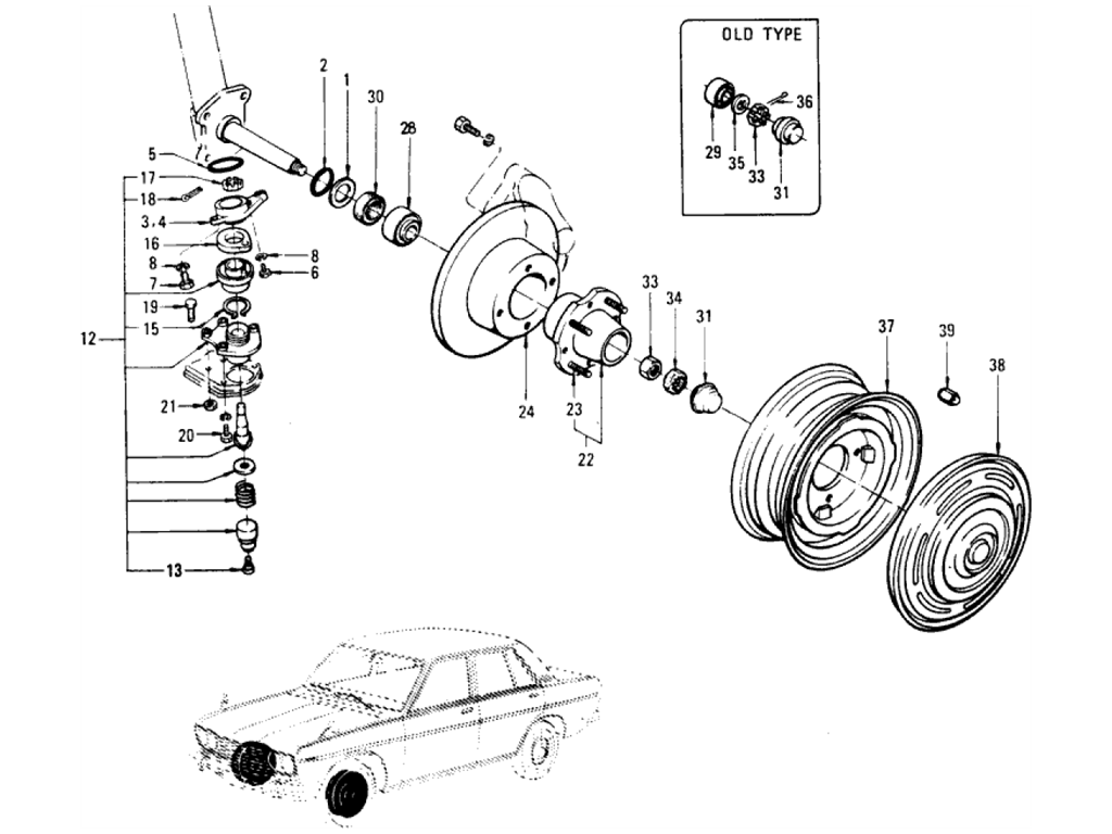 Datsun 510 Front Axle & Suspension