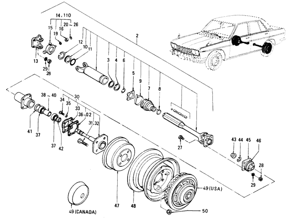 Datsun 510 Rear Axle & Suspension (Sedan)