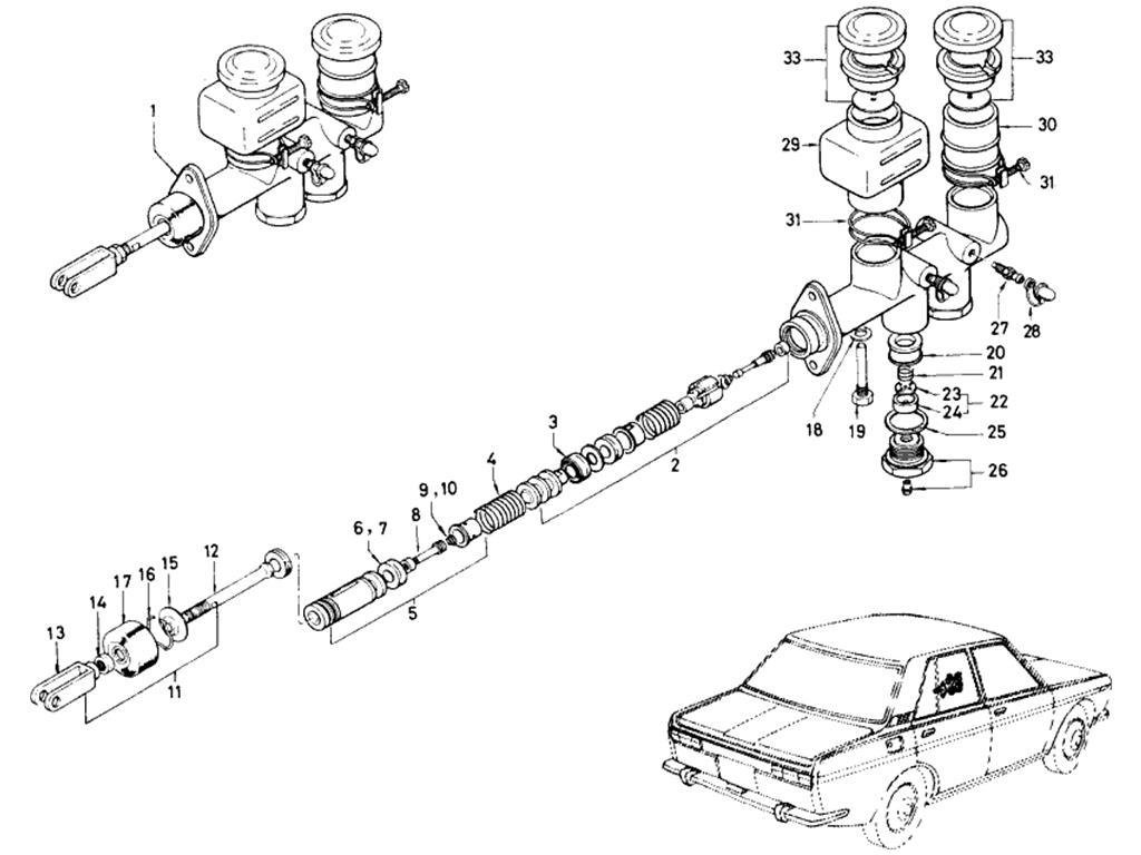 Datsun 510 Tandem Brake Master Cylinder (From Oct.-'68)