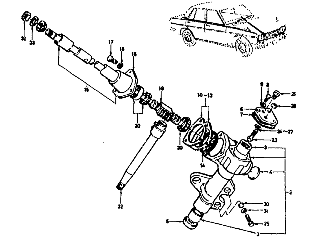 Datsun 510 Noncollapsible Steering Gear (To Sep.-'68)
