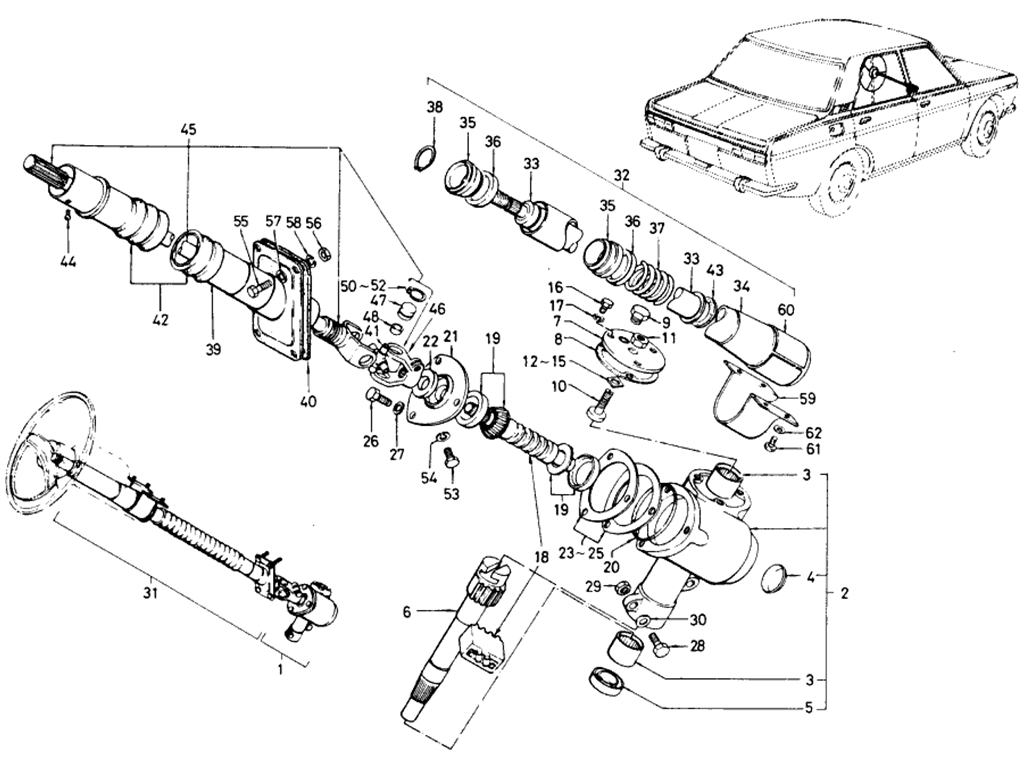 Datsun 510 Collapsible Steering Gear (To Sep.-'68)