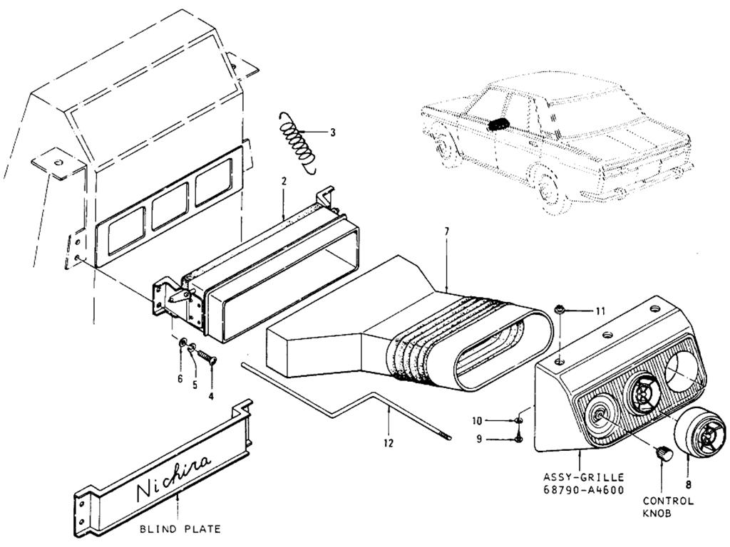 Datsun 510 Center Forced Ventilator (Sedan) (From Oct.-'69)