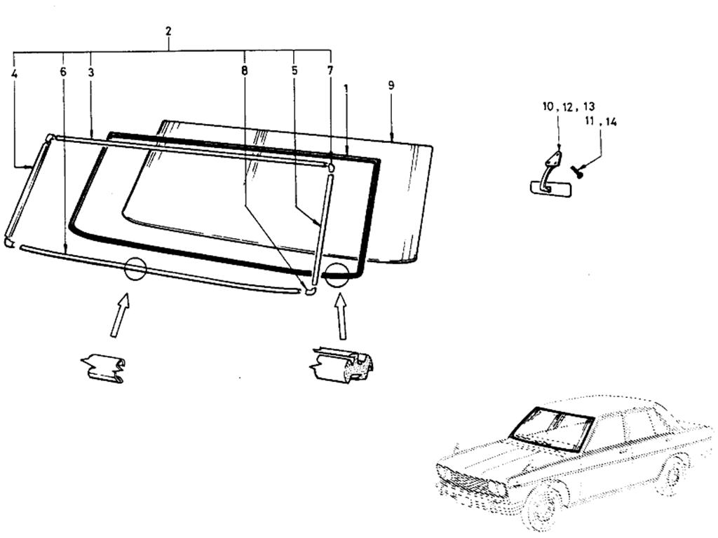 Datsun 510 Front Windshield Glass (Sedan)