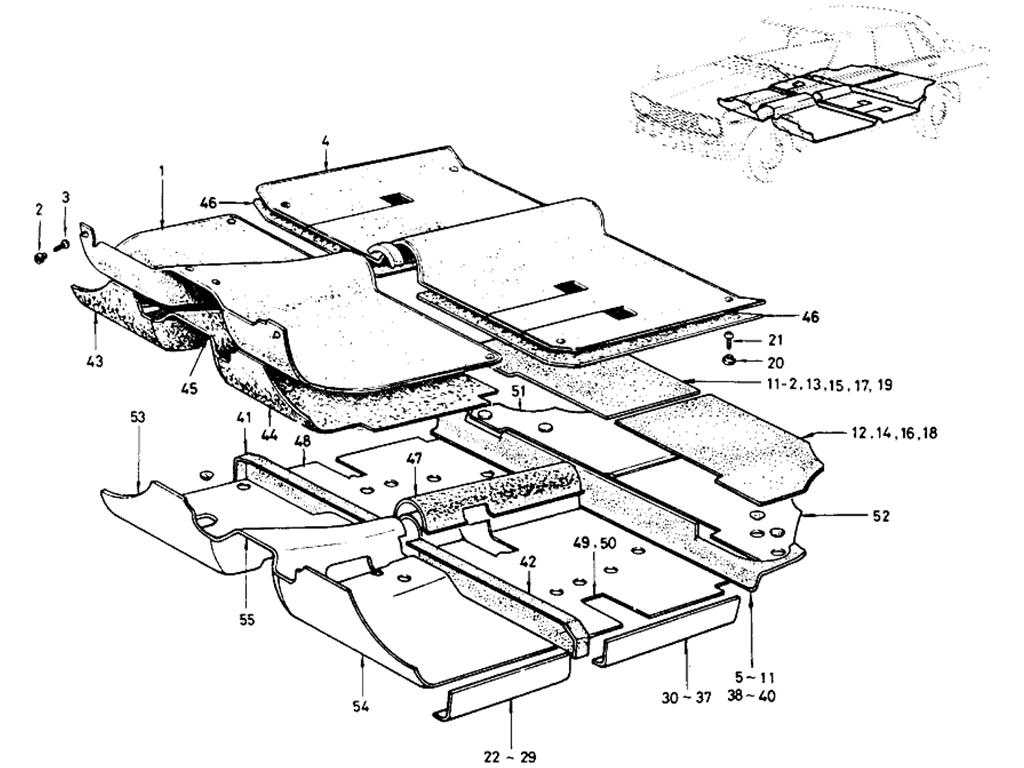 Datsun 510 Floor Trimming (Sedan) (To Sep.-'68)