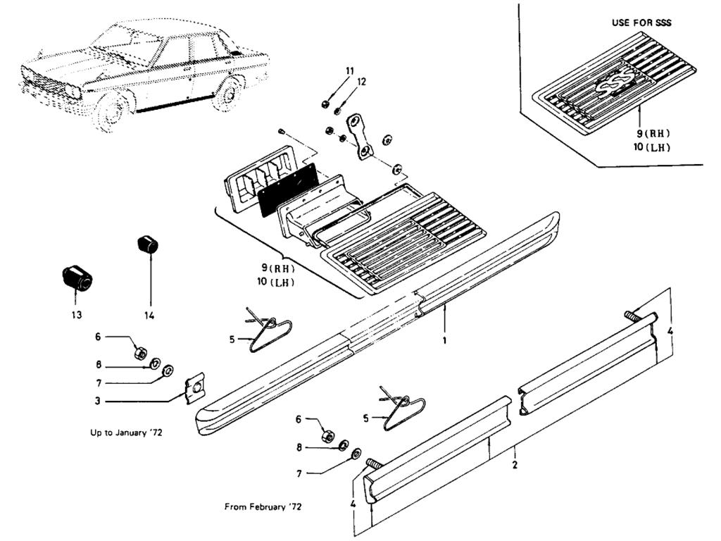 Datsun 510 Body Side Fitting (Sedan)