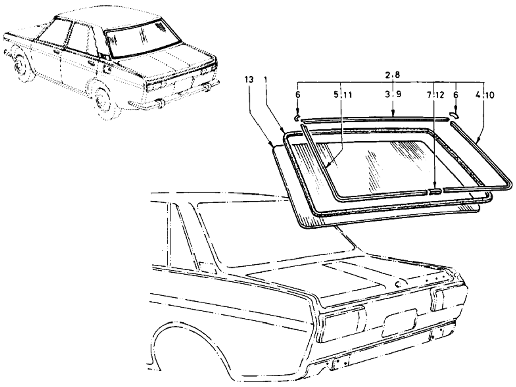 Datsun 510 Rear Window Glass (Sedan)