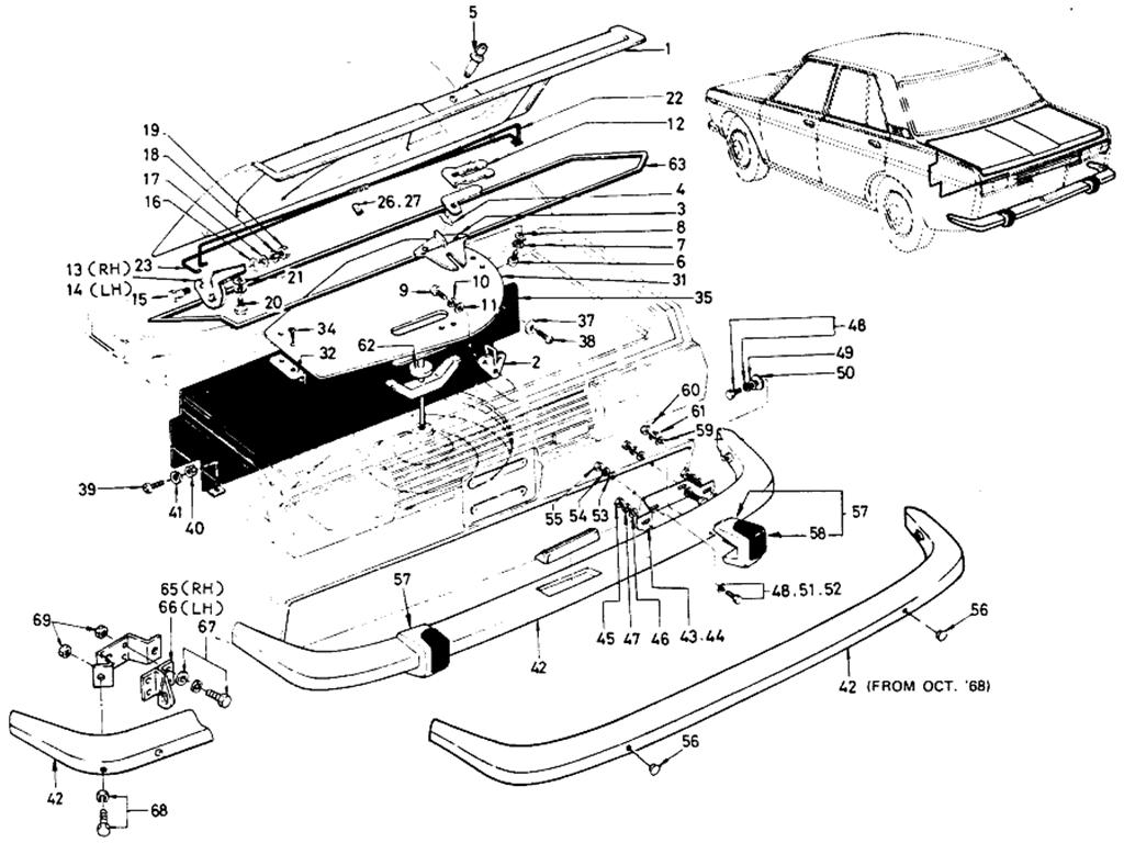 Datsun 510 Trunk Lid & Bumper (Sedan)