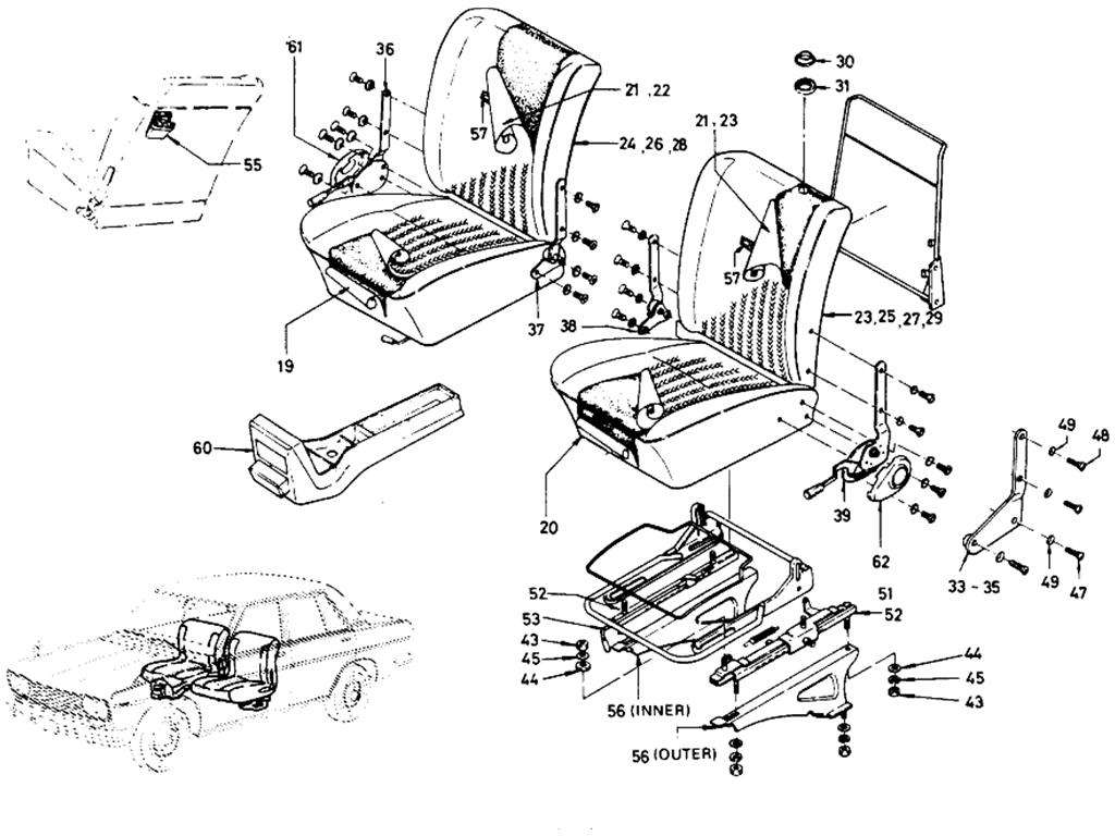 Datsun 510 Separate Type Front Seat (Sedan 4 Door) (From