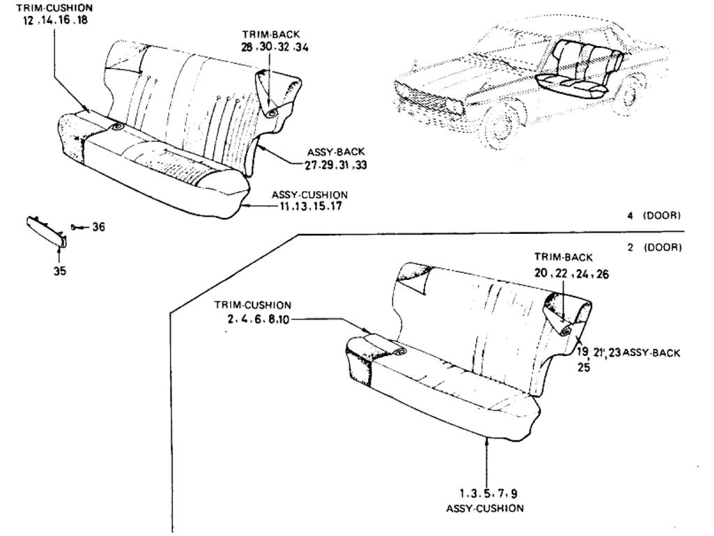 Datsun 510 Rear Seat (Sedan) (From Oct.-'68)